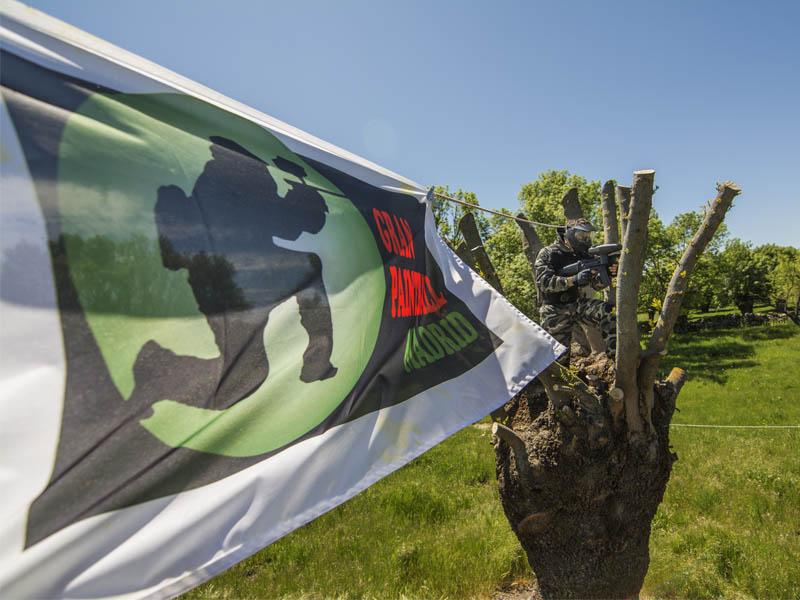 Bandera con el logo de la empresa y jugador en un árbol de fondo