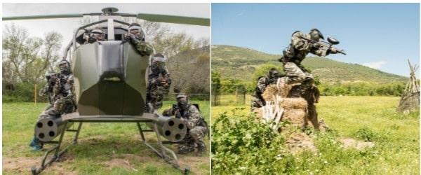 dos imagenes, una con el helicóptero de gran paintball madrid, y otra de un cliente saltándose las normas de seguridad del paintball