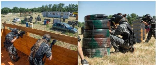 Grupo disparando bolas de paintball desde un parapeto a una chica escondida destrás de un obstáculo de ruedas que se ha quedado sin bolas de paintball