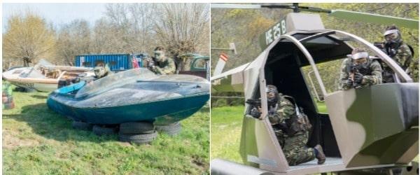 dos imagenes de el helicoptero y las lanchas que hay en el centro de turismo multiaventura que hay en Gran Paintball Madrid
