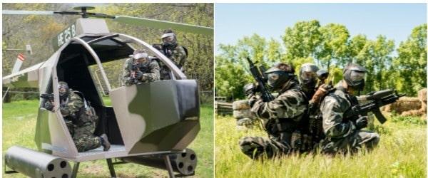Helicoptero y jugadores de Paintball preparados para la batalla