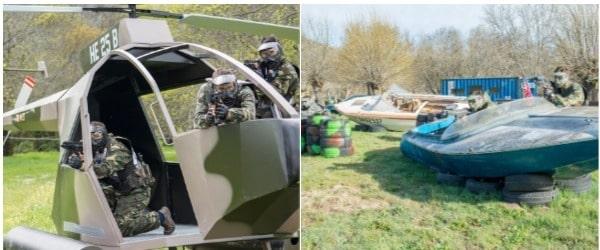 Grupo de amigos jugando al paintball en un helicoptero y una lancha  disparandose a suficiente distancia para que no duela