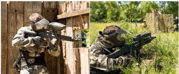 jugadores apuntando con sus armas protegidos de cualquier peligro con sus máscaras de seguridad