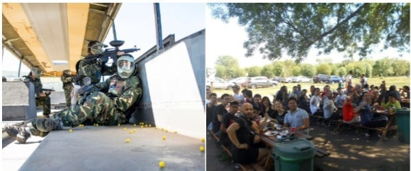 clientes comiendo en plena naturaleza tras una dinámica de grupo en Piantball Madrid. También una fotografía de un clientes recargando bolas en una partida de Paintball