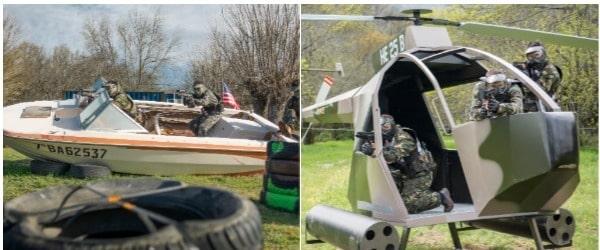 Clientes jugando en la lancha y el helicoptero de Gran Paintball Madrid que han contratado el pack de Paintball y bbq