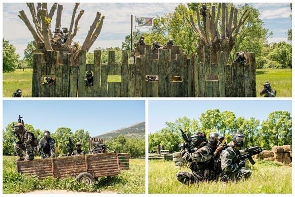 Jugadores equipados de camuflaje disparando bolas de pintura desde el  fuerte 8a2875cafa814