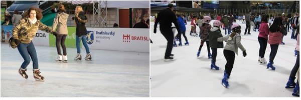 Amigos patinando sobre hielo