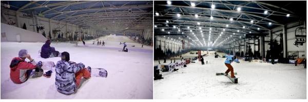 Vistas de la pista de esquí del snowzone de Madrid