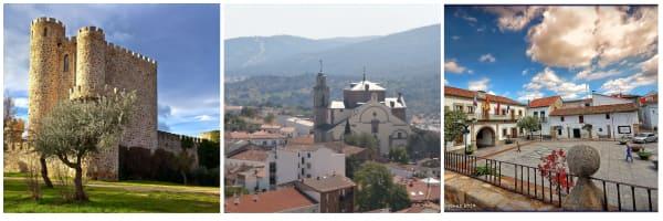 tres fotos de los lugares más emblematicos de san martin de valdeiglesias, uno de los sitios que visitar en Madrid más recomendables