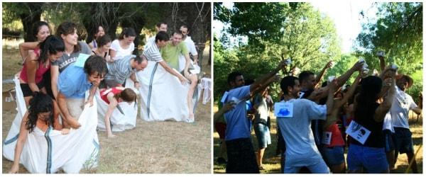 Dos imagenes de una despedida de soltero conjunta con actividades originales en Gran Paintball Madrid
