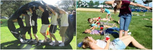 Varios adultos jugando a nuestras famosas gymkanas con pruebas originales de todo tipo