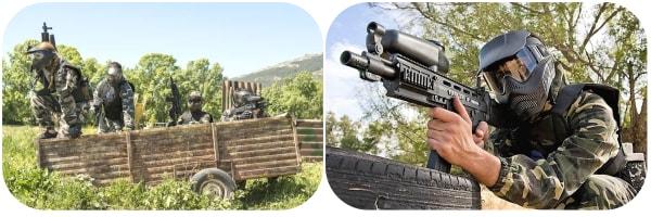 Dos imagenes de las marcadoras de gran paintball madrid