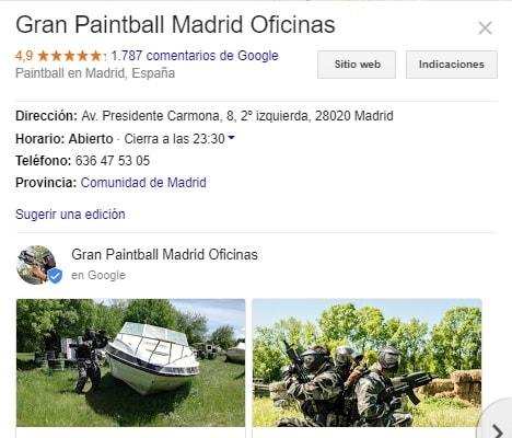 Imagen de las opiniones de gran paintball madrid en google