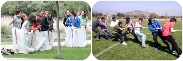 dos fotos de gincanas que hacemos en Gran paintball Madrid, uno de los planes más originales que puedes hacer