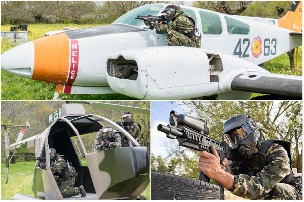 Imagenes de los obstaculos que hay en el paintball del el escorial, en concreto el avion y el helicoptero