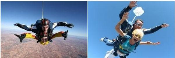 Dos imagenes de clientes disfrutando de un salto en tandem
