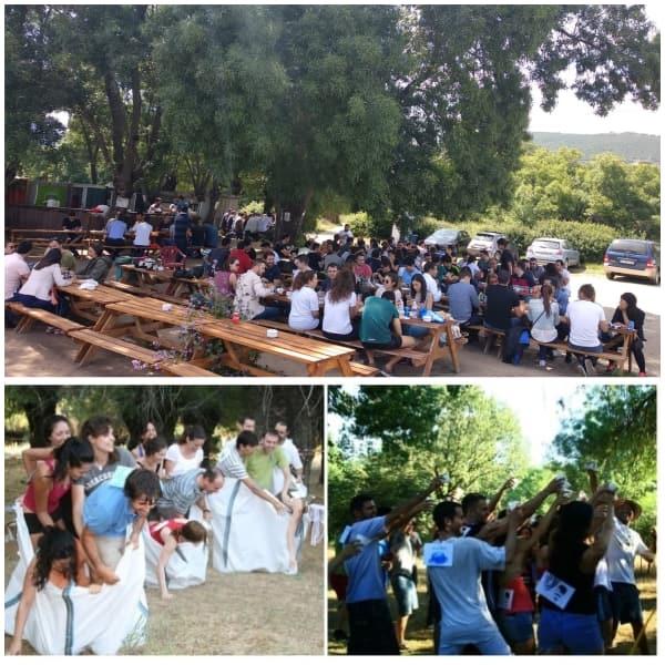 3 fotos de clientes realizando actividades deportivas outdoor training en la naturaleza y comiendo en la zona de picnic de Gran Paintball Madrid