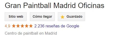 Reseñas dejadas por los clientes de Gran Paintball Madrid con 2236 opiniones