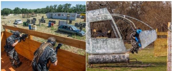 dos imagenes, una con ninos jugando al paintball en un helicoptero, y otra de adultos en un cumpleanos saliendo de un obstáculo