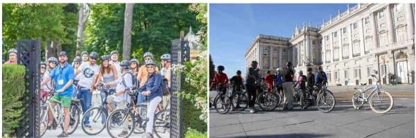 Amigos disfrutando de una gran experiencia haciendo un tour en bicicleta por Madrid